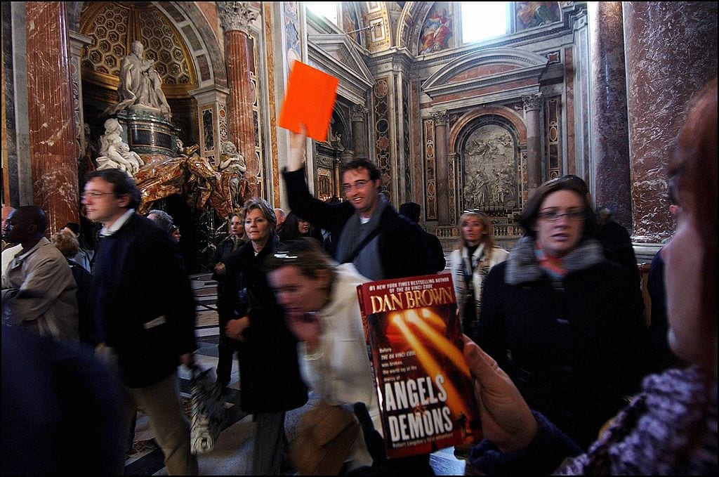"The ""Angels and Demons"" tour: the secret meeting spots of Dan Brown's ""Illuminati"" in Rome, Italy in February, 2005"