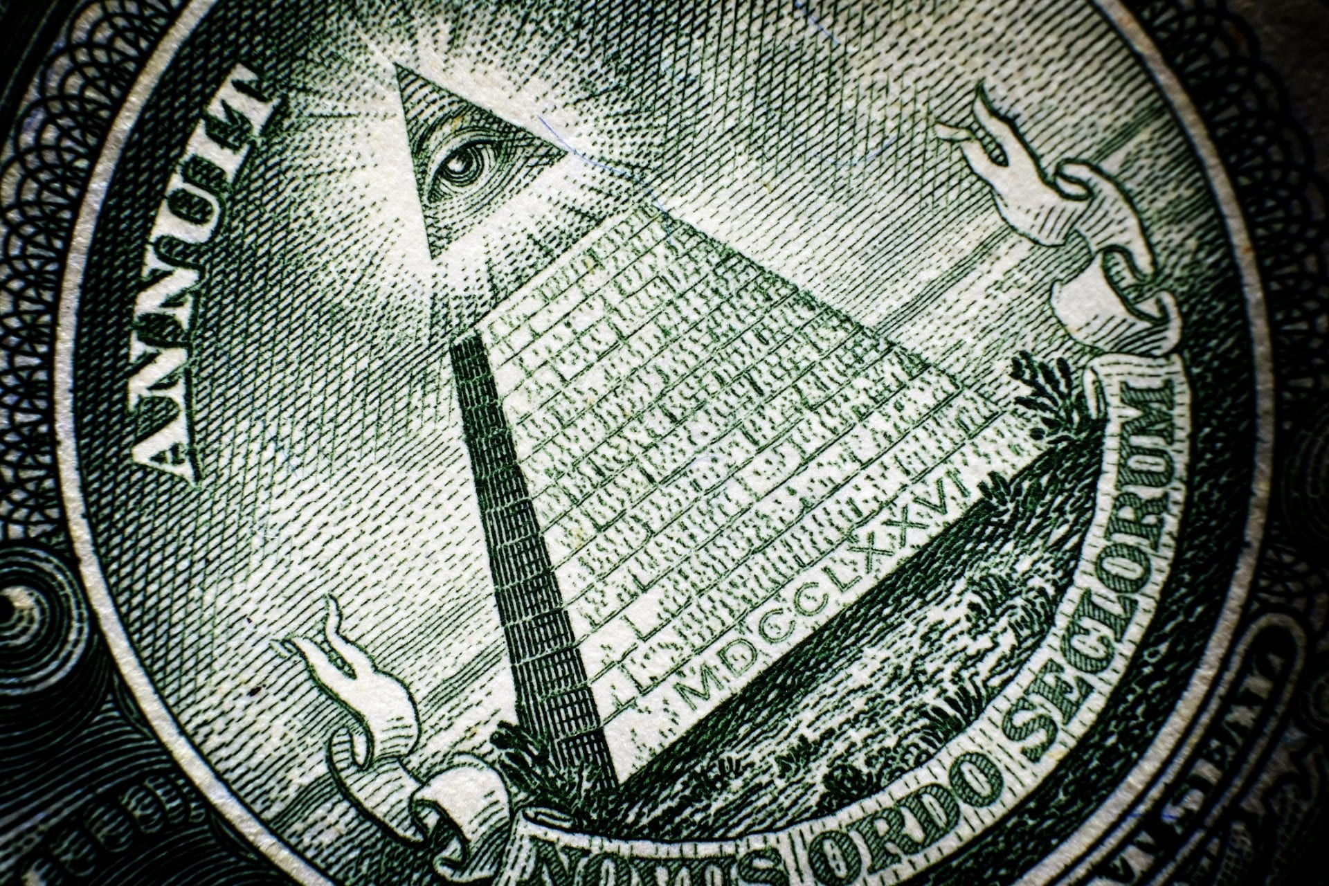 All Seeing Eye pyramid on back of dollar bill american money