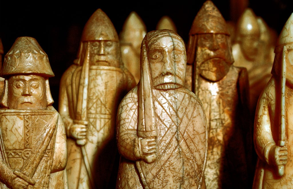 Norse chessmen, from a Viking hoard, Isle of Lewis, Scotland.