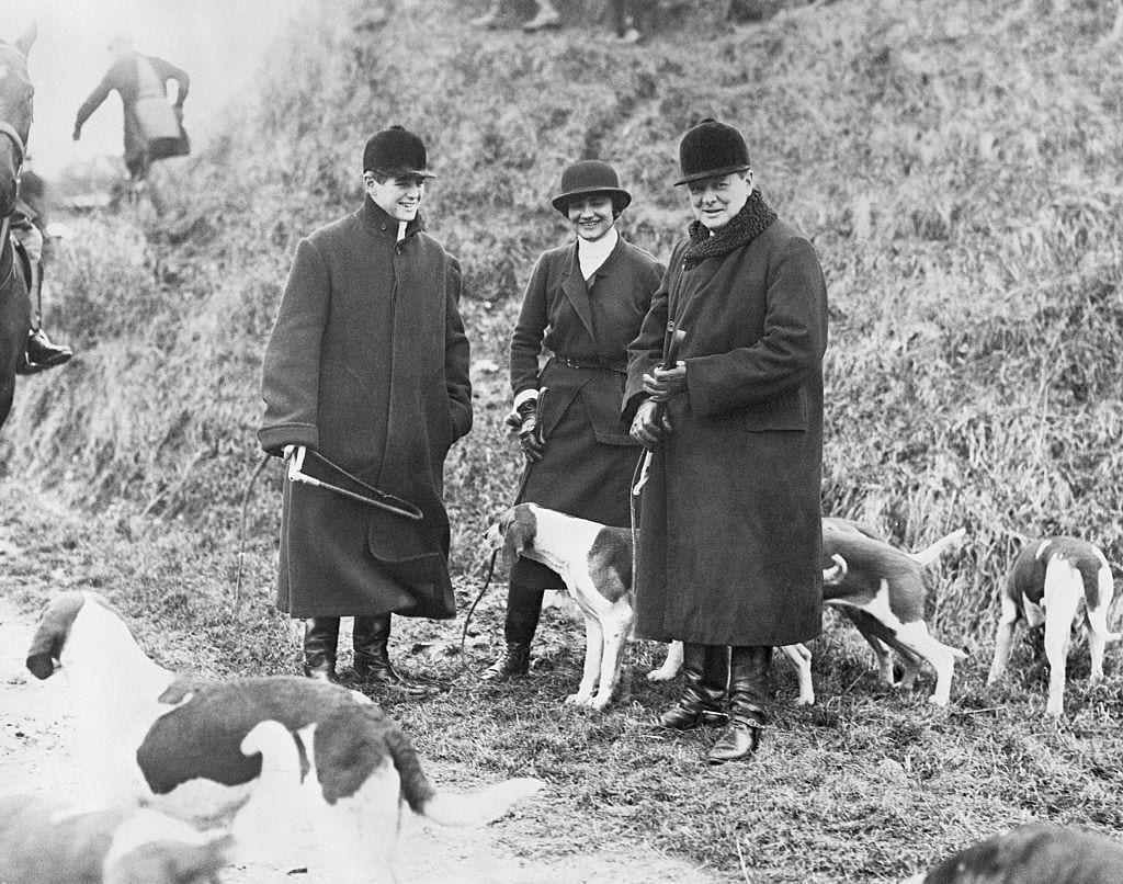 Winston Churchill Hunting with his Son Randolph and Coco Chanel