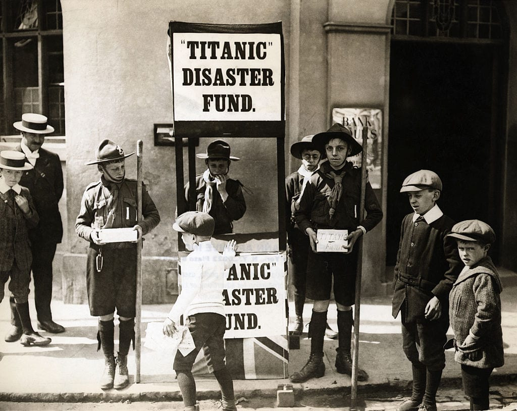 British Boy Scouts Raising Money for Titanic Victims, ca. 1912