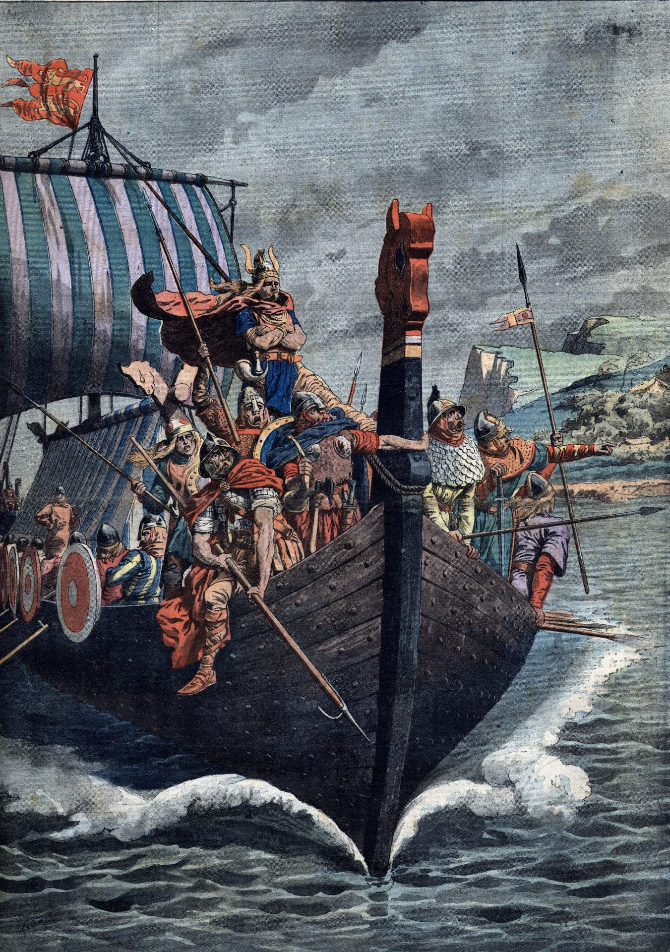 Illustration of the arrival of Vikings at Normandy in the 9th century