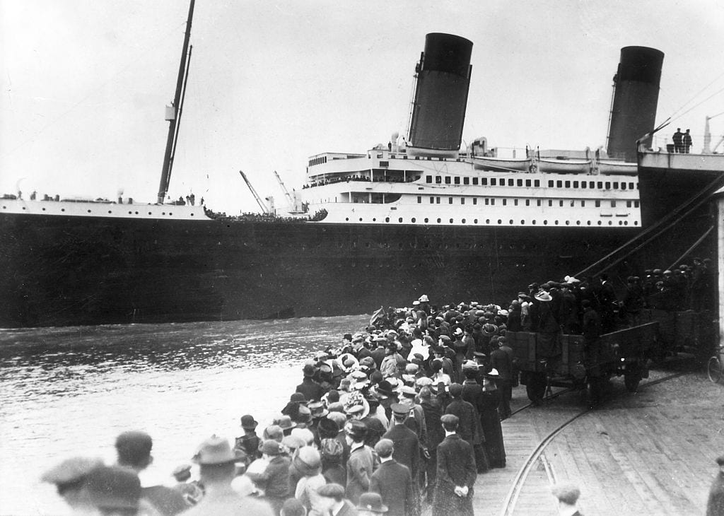 Passengers boarding the Titanic