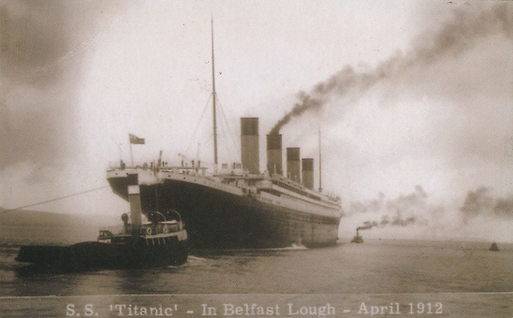 SS Titanic - In Belfast Lough - April 1912, 1912