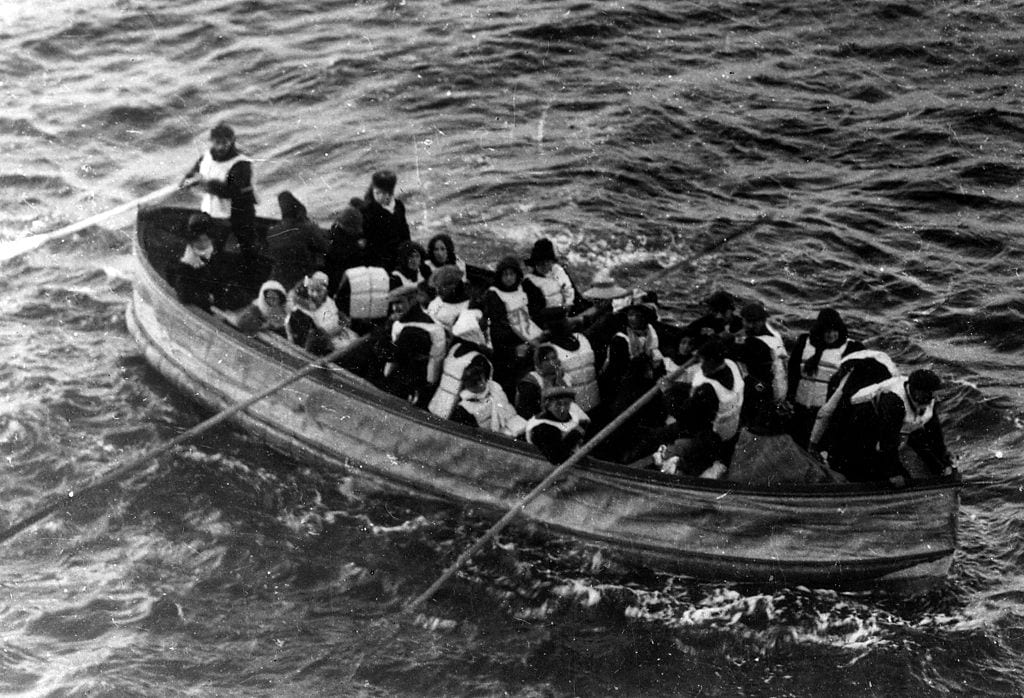 Lifeboat with survivors from the SS Titanic.