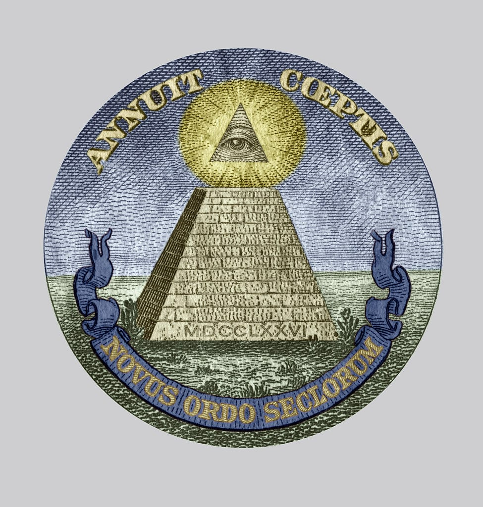Symbol of the The Bavarian Illuminati secret society (1776-1785) members were from Freemasonry, accused of conspiracy, detail of a one dollar bill colorized document