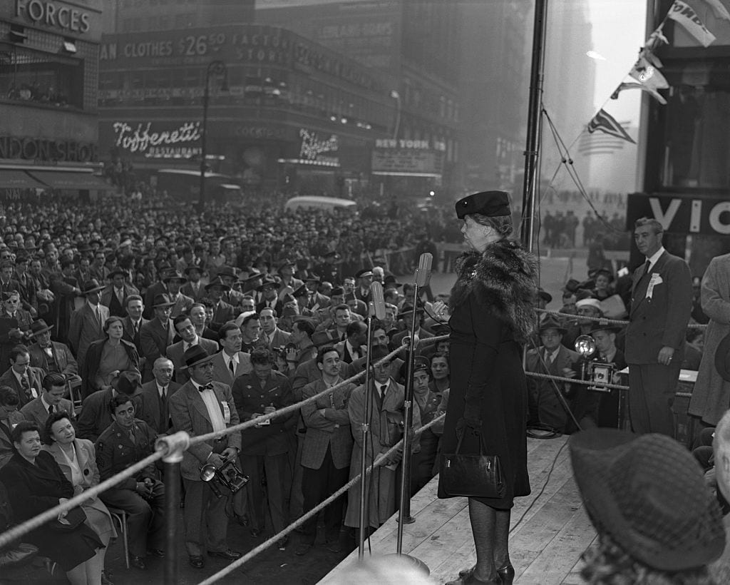 Mrs. Eleanor Roosevelt Addressing Crowd in Times Square