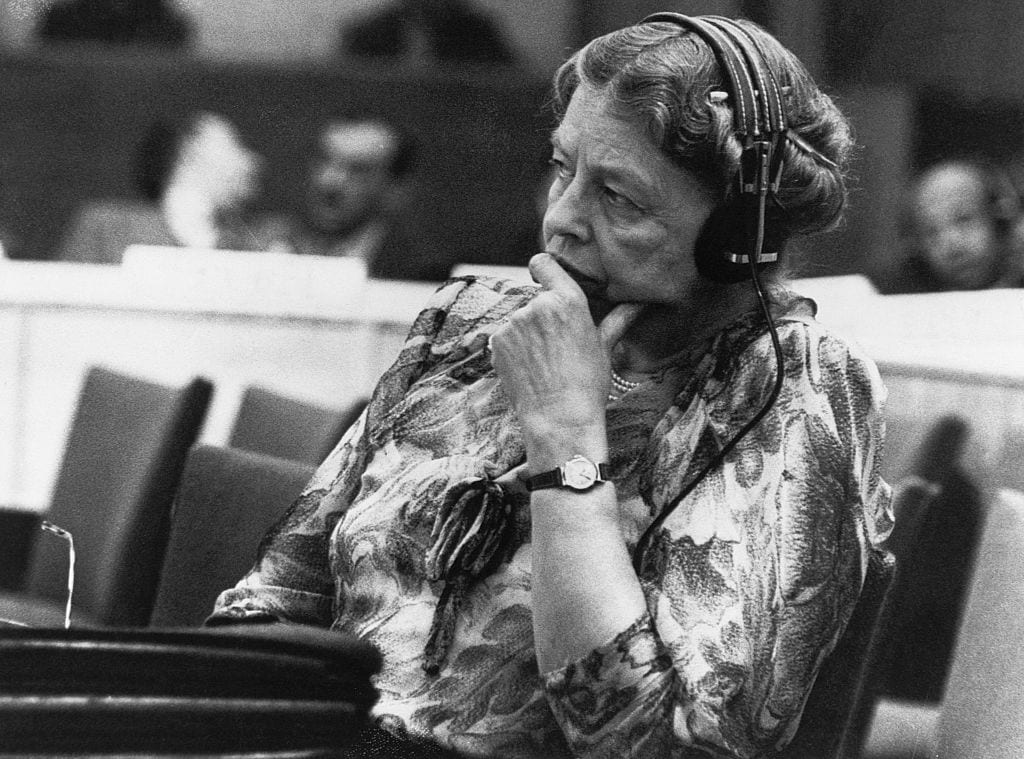 Eleanor Roosevelt Listening to Speaker