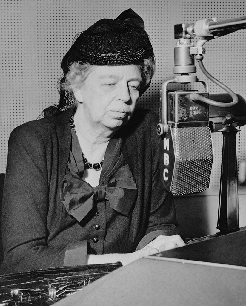 Eleanor Roosevelt Talking into Microphone