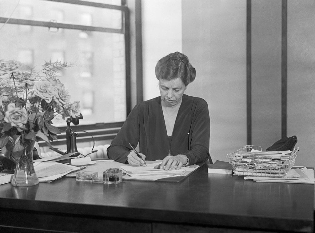 Eleanor Roosevelt Writing at Desk