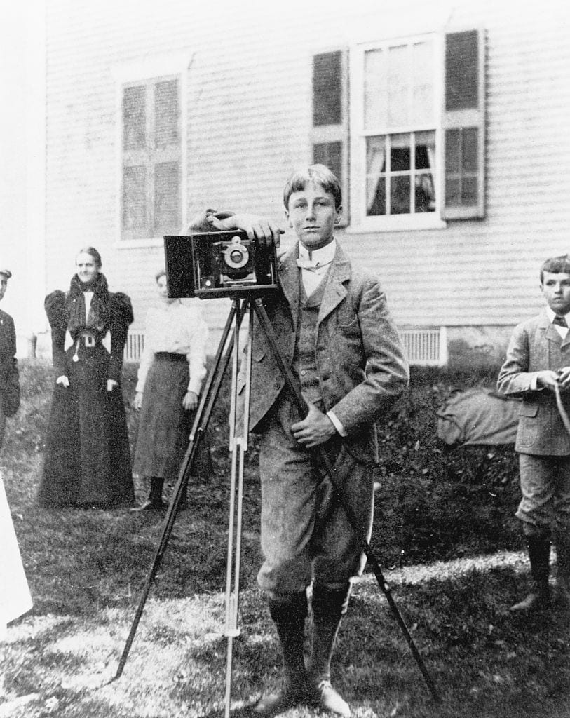 Franklin D. Roosevelt with Camera at Delano Homestead