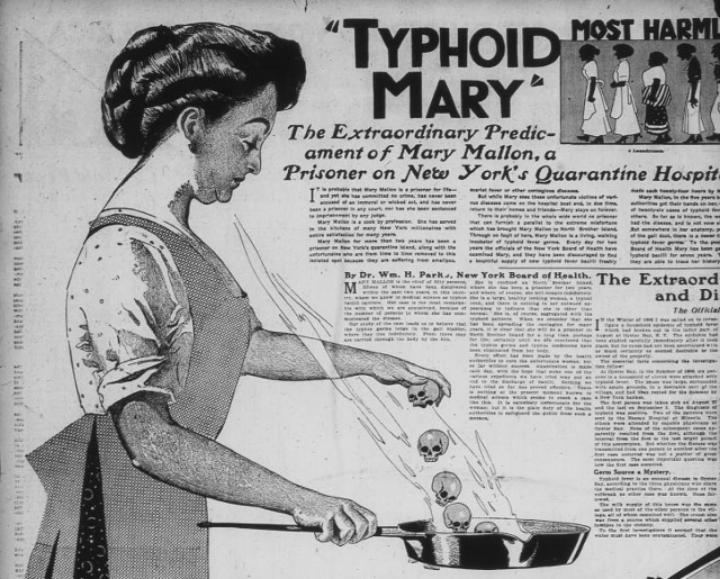 Typhoid Mary infected 55 people in her lifetime even though she never appeared ill herself