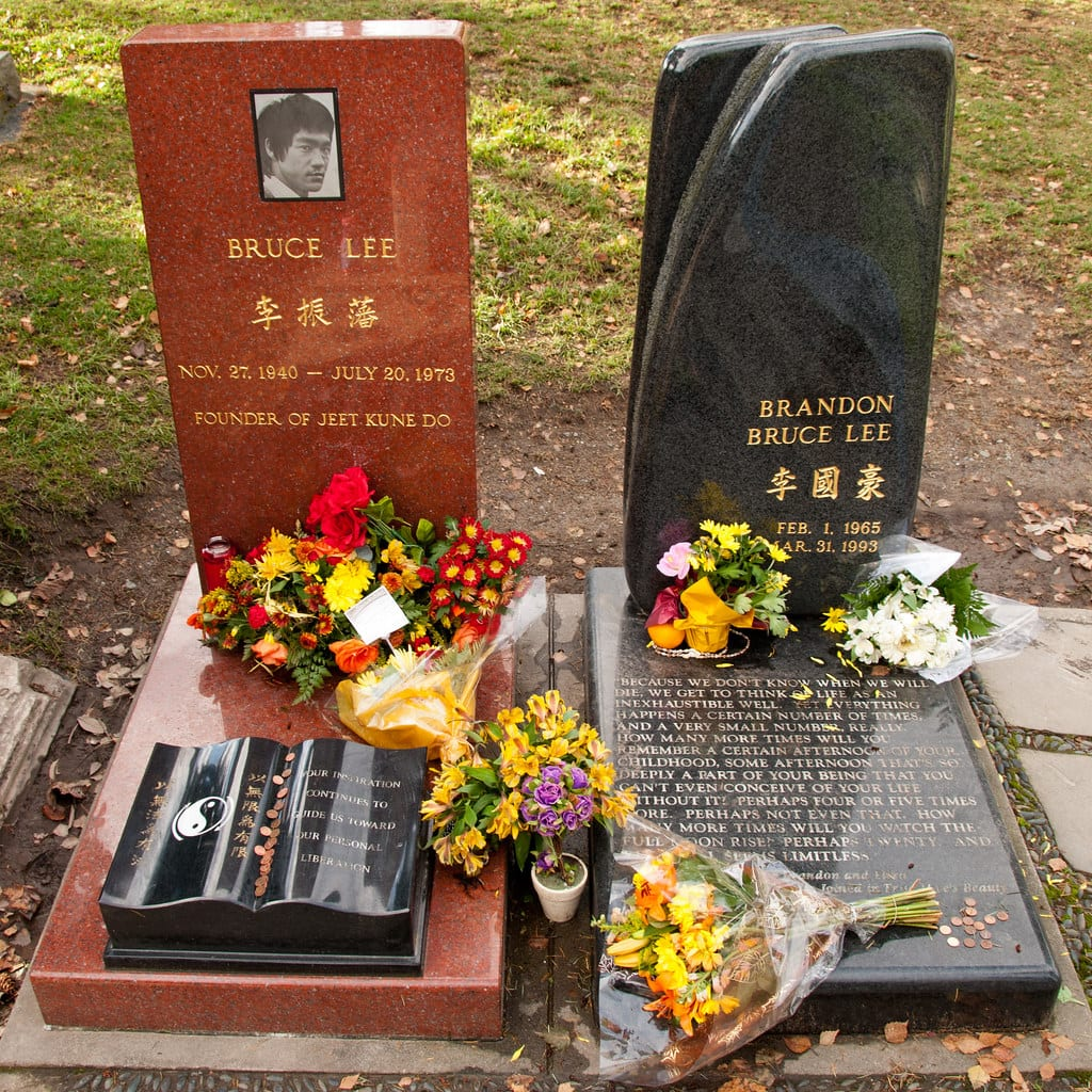 the graves of Bruce Lee and Brandon Lee