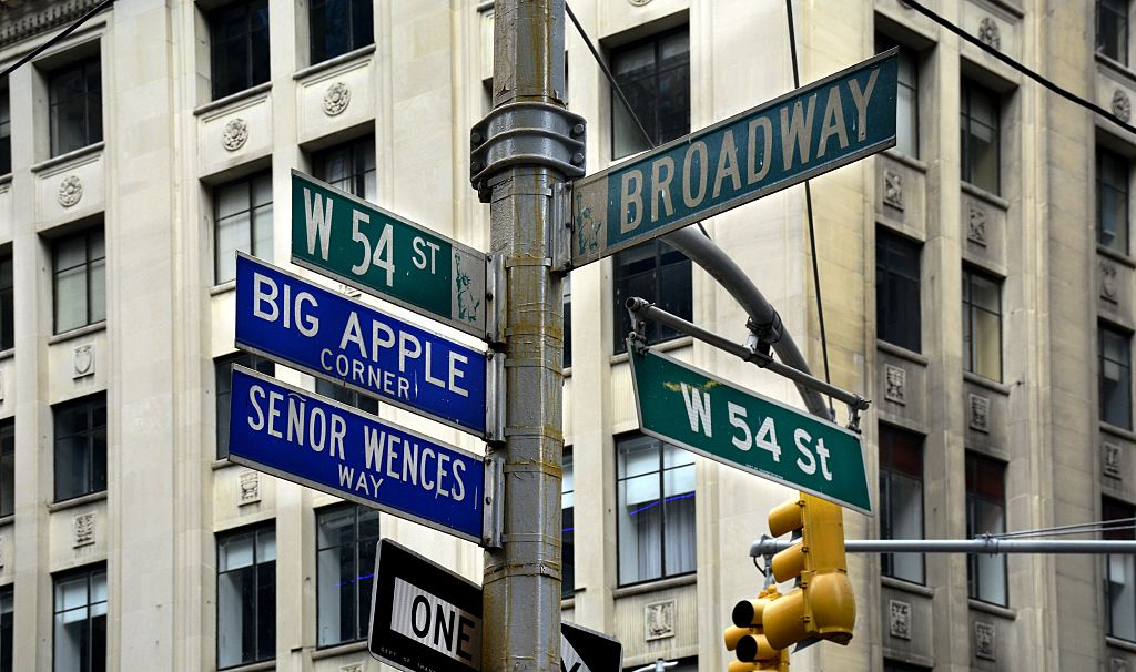 September 6, 2016:  Street signs at the corner of Broadway and 54th Street in New York City