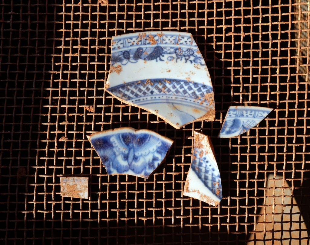 fragments of china found beneath monticello