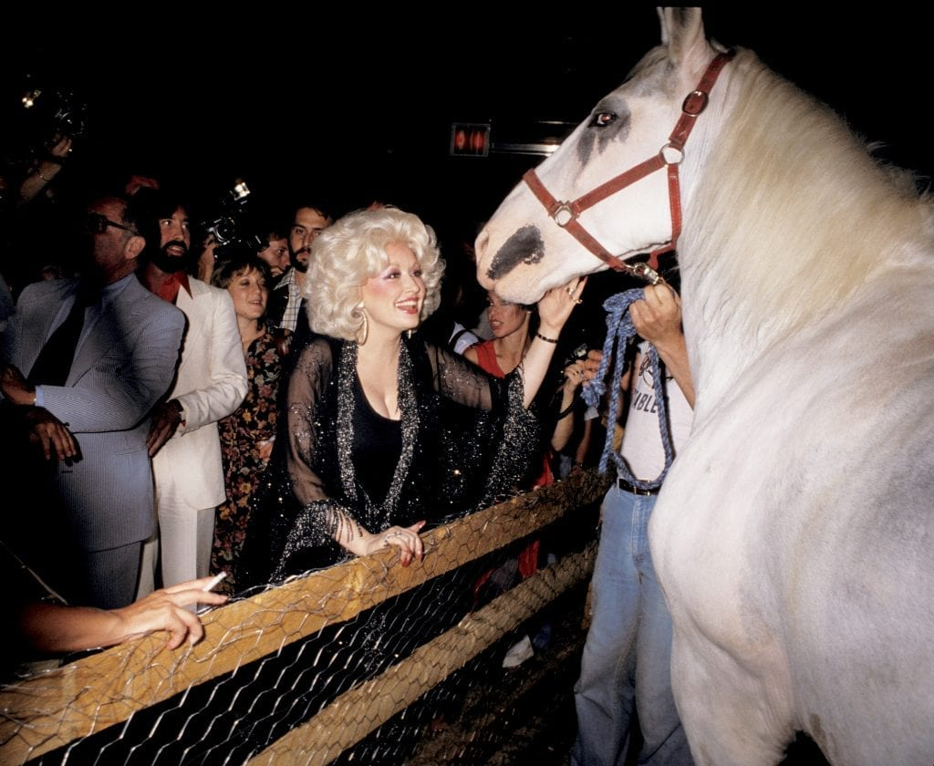 Dolly Parton petting a horse in Studio 54