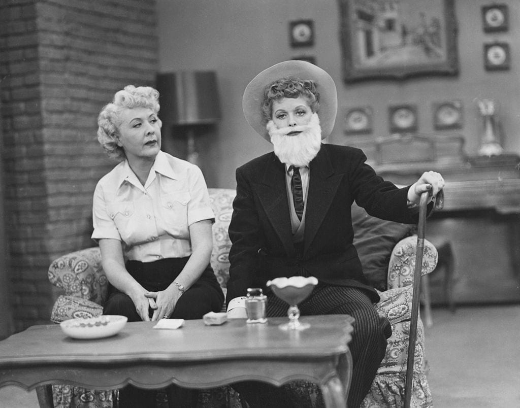 Lucille Ball wearing a beard