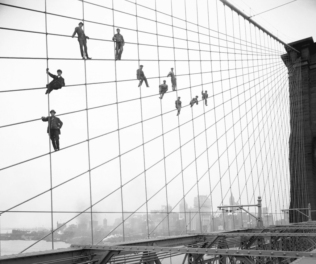 Photographs of famous landmarks under construction