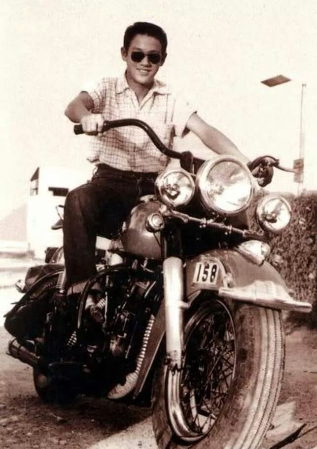 Bruce Lee on a motorcycle