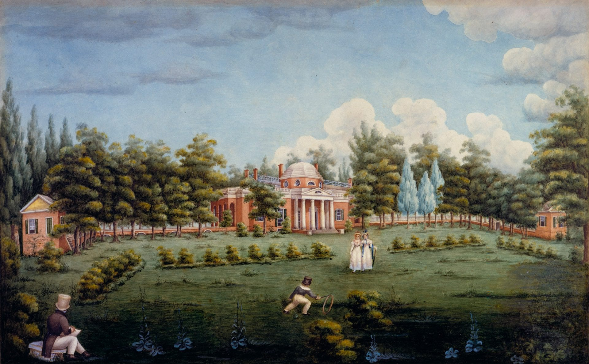 Water color painting of Thomas Jefferson's Monticello