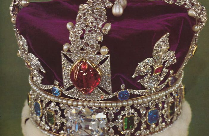 Crown of jewels, in the center, the ruby
