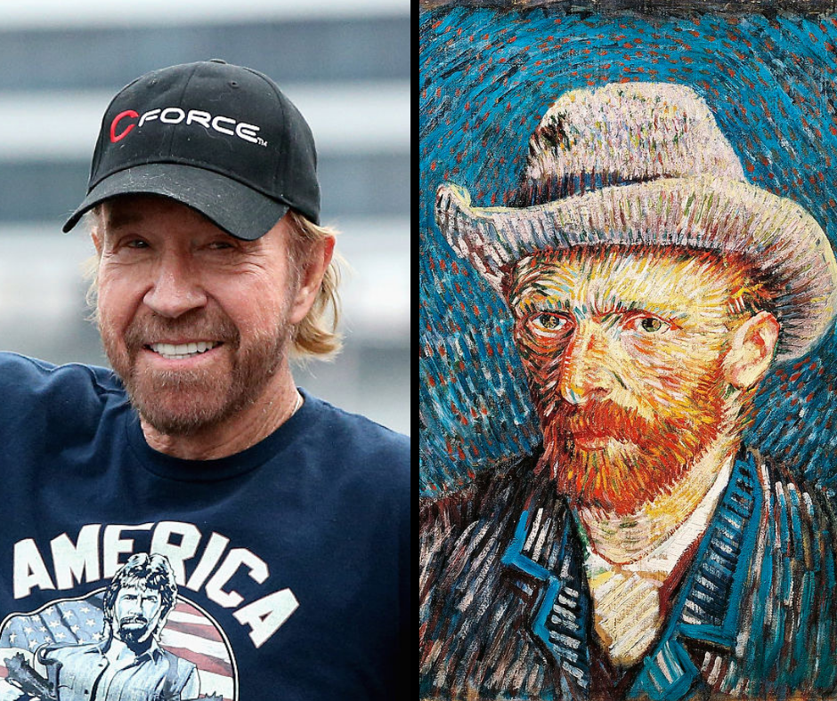 Chuck Norris and his celebrity doppelganger, Vincent Van Gogh.