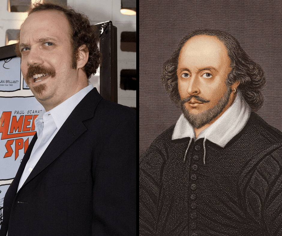 Paul Giamatti and his celebrity doppelganger, William Shakespeare.