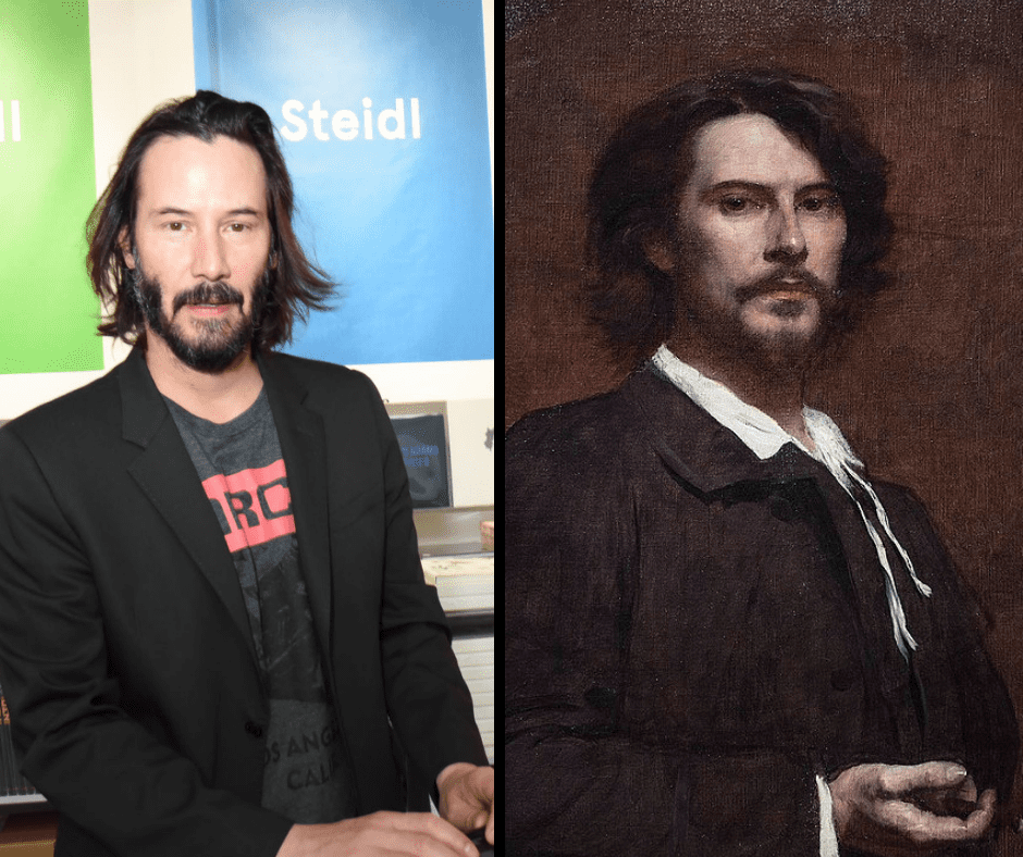 Keanu Reeves and his celebrity doppelganger.