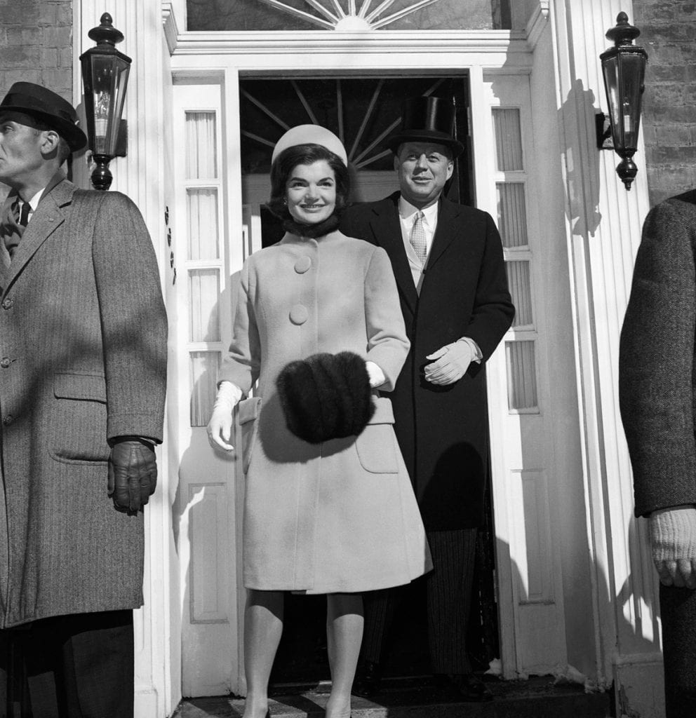 http://theenchantedmanor.com/tag/jackie-kennedy-inauguration-ceremony-dress-and-coat/