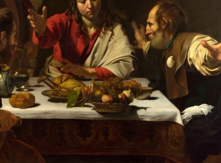 Caravaggio supper at emmaus jesus fish easter egg