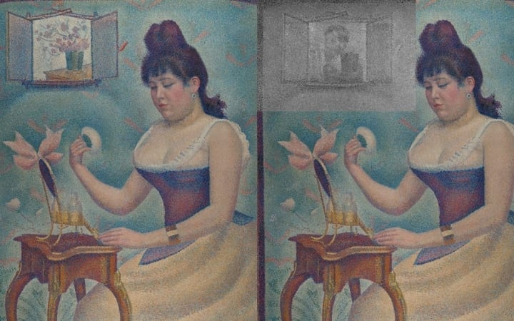 Young woman powdering herself Georges Seurat secret image