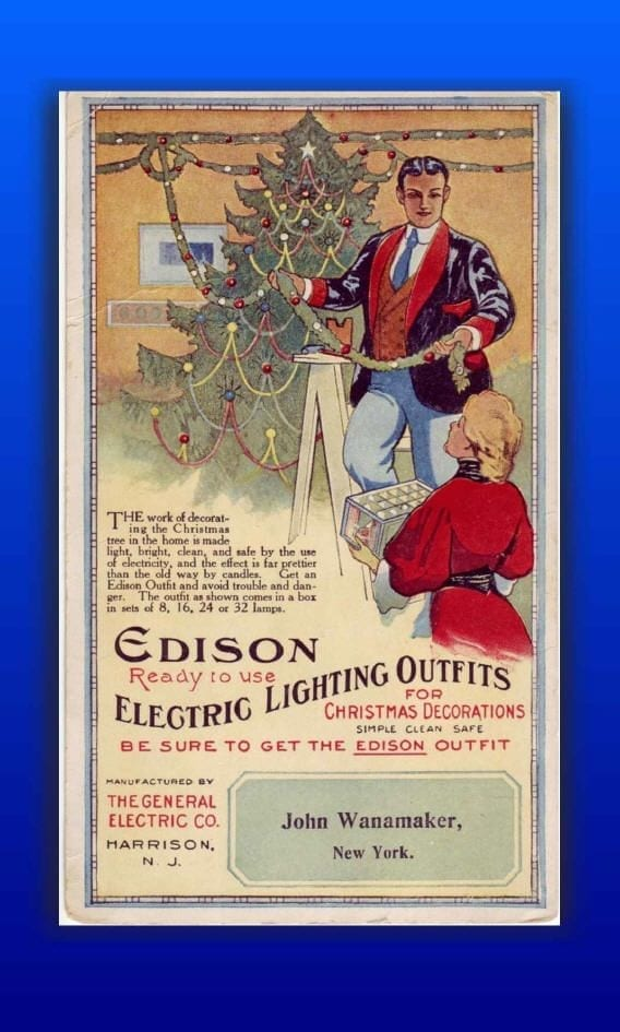 Edison, Christmas, Roosevelts, christmas lights, victorian ads