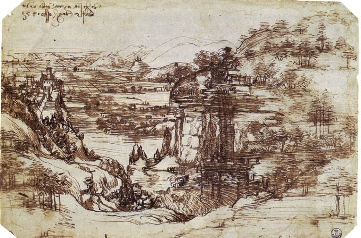 leonardo da vinci first sketch drawing italy