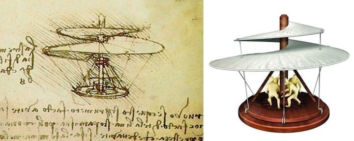 leonardo da vinci sketch helicopter technology