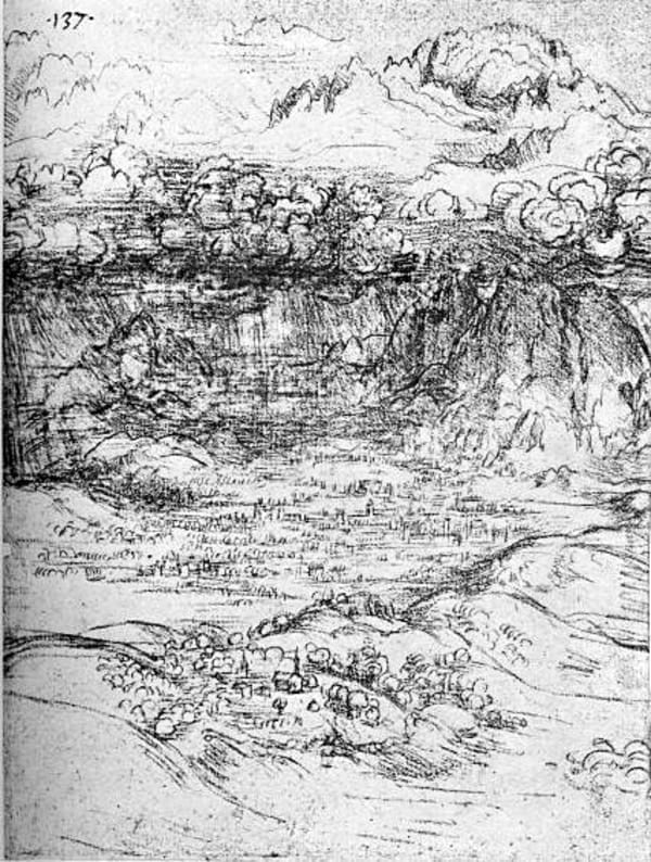 leonardo da vinci sketch water drawing deluge