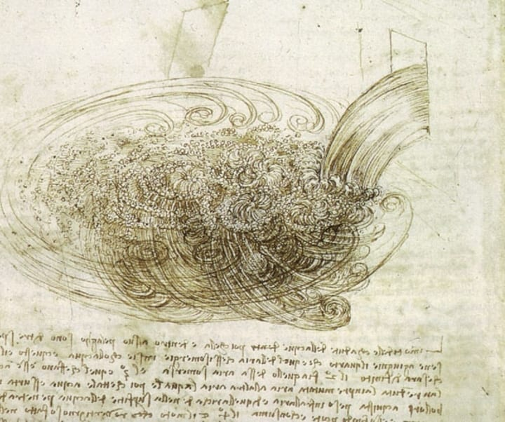 leonardo da vinci water drawing