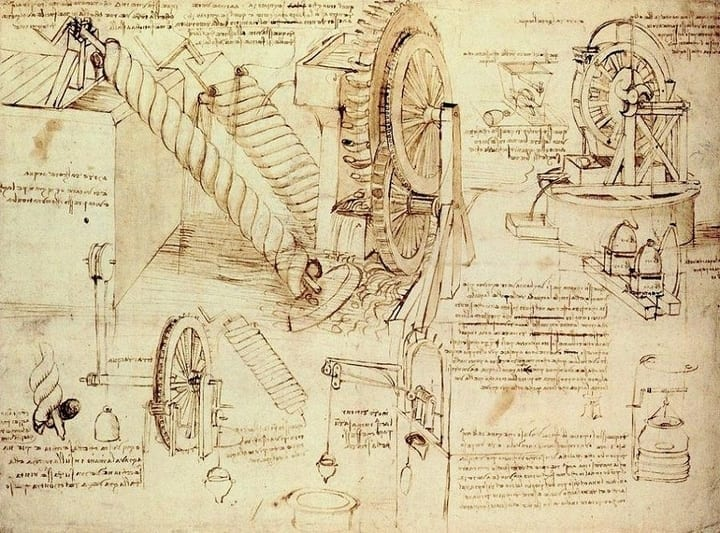 leonardo da vinci water sketch technology