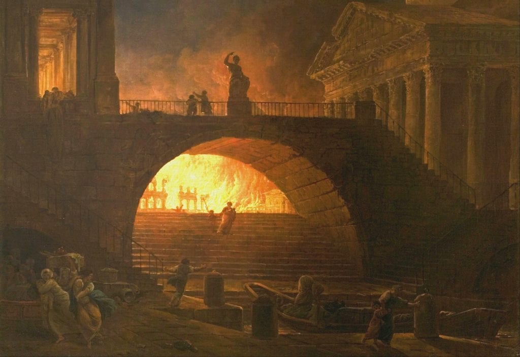great fire of rome, fire, city on fire, rome, ancient history, nero, fiddle
