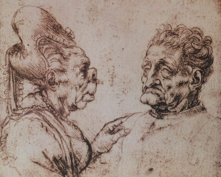 ugly grotesque heads leonardo da vinci drawing