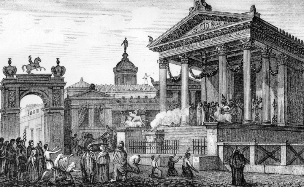 ancient rome, roman circle, roman city, italy, italian illustration, temples, worship
