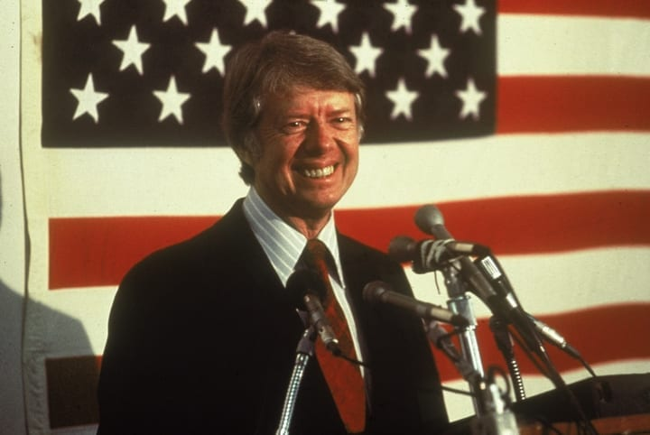 president jimmy carter american flag