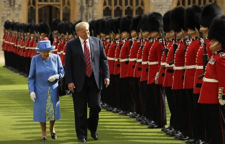 queen elizabeth ii president donald trump royal guard