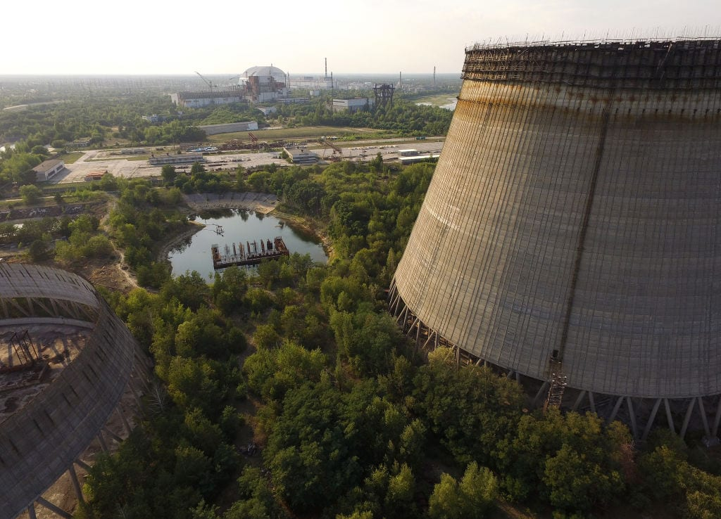 Chernobyl reactor, radioactive, nuclear stack