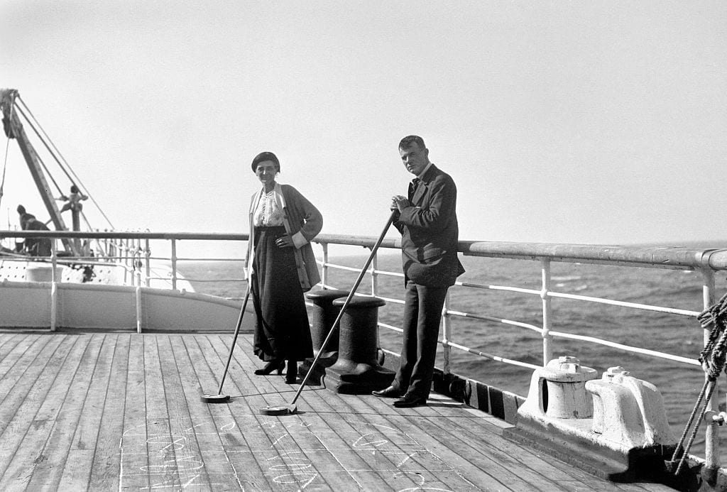 Shuffleboard on the deck of the S.S. New York, ca. 1916