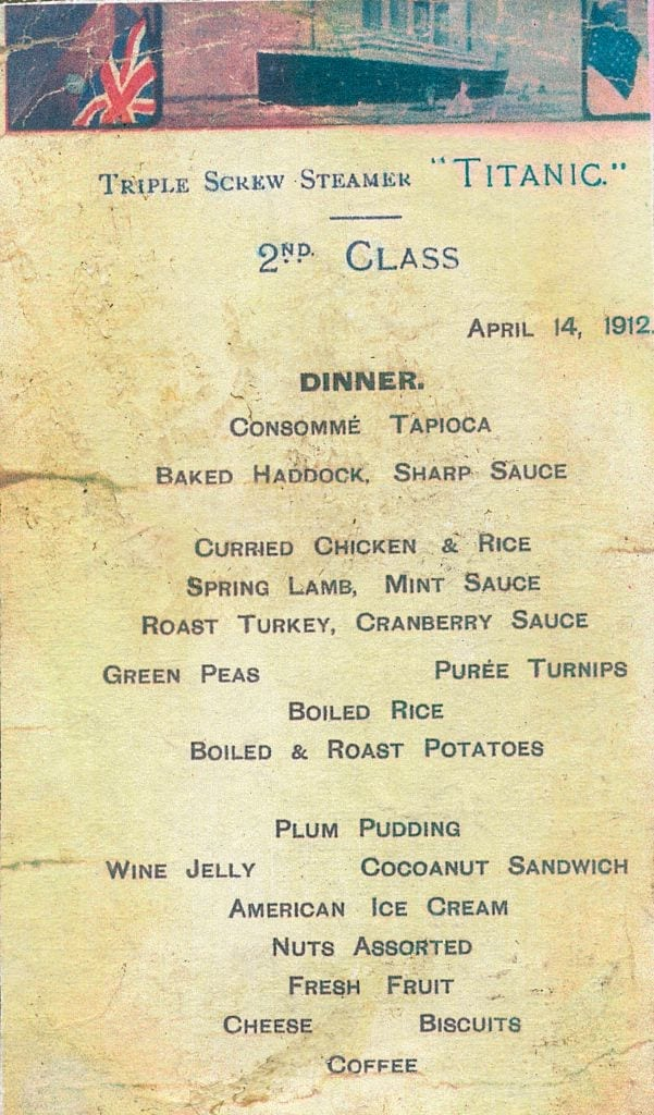 Titanic - 2nd Class Dinner Menu, 1912