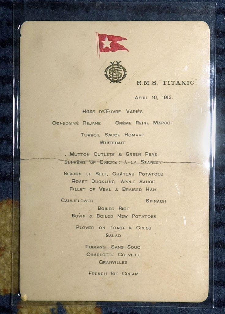 First Class menu from the Titanic