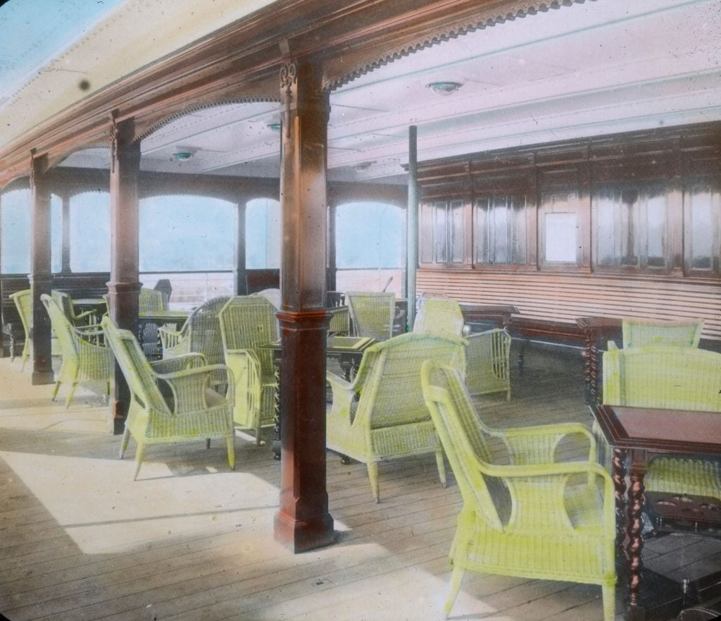 Comfortable, elegant seating on the upper deck of the RMS Titanic.
