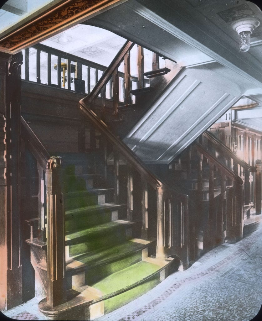 Stairways as a connection between the decks aboard the RMS Titanic.