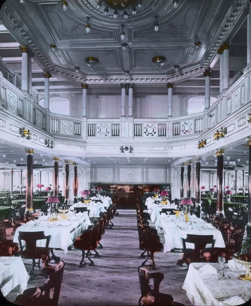 The luxury dining hall of the RMS Titanic.