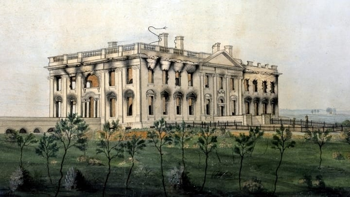 Painting of the fire at the President's House